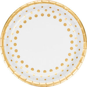 Image is loading 8-x-Golden-Wedding-Party-Paper-Plates-50th-  sc 1 st  eBay & 8 x Golden Wedding Party Paper Plates 50th Anniversary foil finish ...