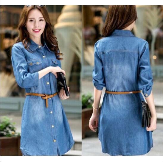 Women POLO Collar Denim Cotton Jean Shirt Dress Denim Blue Shirtdress Belt S-5XL