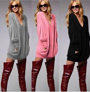 damen casual langarm pullover strick pulli oberteil longshirt schwarz grau bc338 ebay. Black Bedroom Furniture Sets. Home Design Ideas