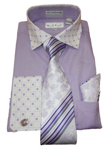 Mens Karl Knox Light Purple Contrasting Square Cuff//Collar Shirt Tie Set SX4353