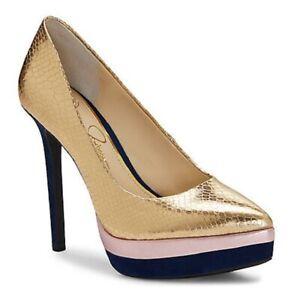 Womens-Jessica-Simpson-Loyren-Stiletto-Platform-Pumps-Metallic-Python-Gold-Blue
