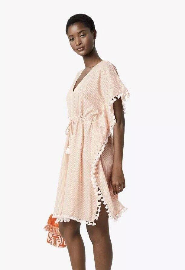 Tory Burch Ravena Women's Caftan XL Melon Ivory Stripe Cotton Dress