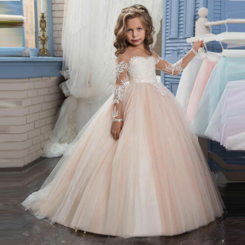Lace Long Girl Princess Wedding Ball Gown Party Communion Pageant Flower Dress