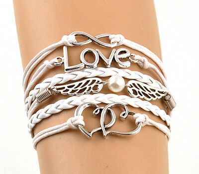 Fashion White Leather Wristband Heart Love Infinity Angel Wing Charms Bracelet