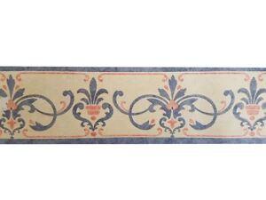 Retro-Vintage-Ornament-Scroll-Medallion-Wallpaper-Border-Blue-Beige-Textured