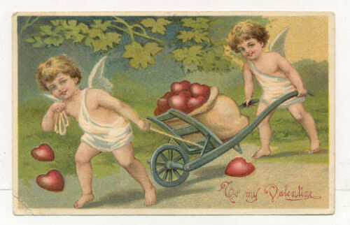 1909 EMBOSSED CUPIDS HAULING HEARTS POSTCARD PC6836