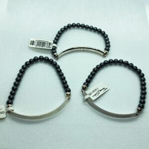(3) THOMAS SABO Love Bridge Hematite Stretch Bracelets - LBA0014-064-5-L20
