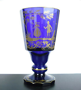 Large-Glass-To-Foot-XIX-Th-Crystal-Blue-Cobalt-Scene-Amatory-Gold-6-5-16in