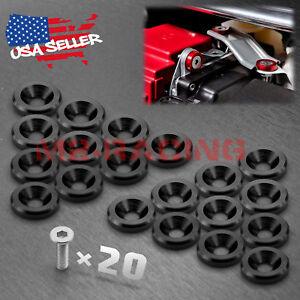 20pcs-Black-Billet-Aluminum-Fender-Bumper-Washer-Bolt-Engine-Bay-Screw-Kit-JDM