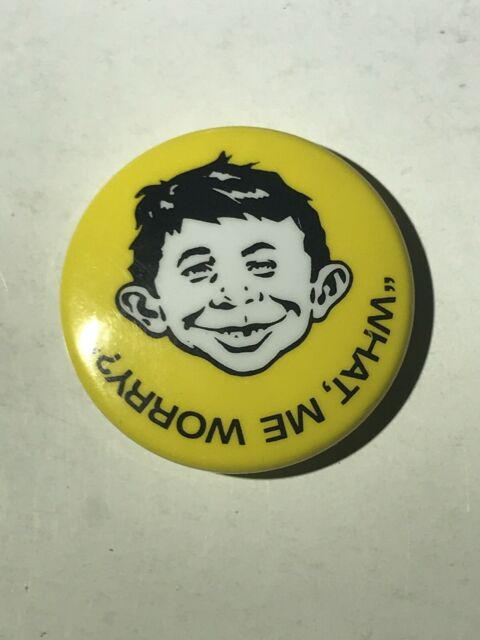 Original Vintage 1996 Mad Magazine Alfred E Neuman What Me Worry Pin Back Button