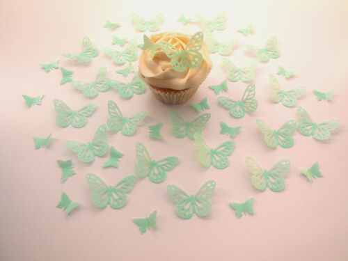 48 mintgrün vorgestanzt Schmetterlinge Wafer Papier Cupcake Deckel 2 ENTWÜRFE