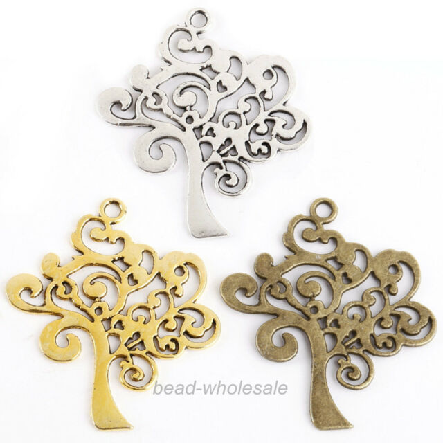 Lots 10 pcs Tibetan Silver Tree Shaped Charms Pendants Findings 40x35mm