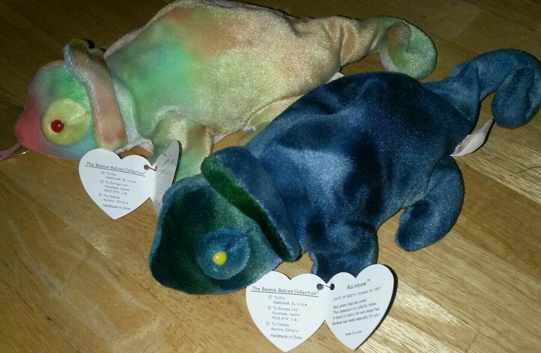 TY beanie babies both Rainbow iguanas-rare pair