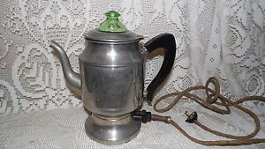 VINTAGE ELECTRIC HOTPOINT COFFEE POT GREEN GLASS DEPRESSION LID 1924 EDISON ELEC