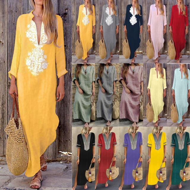 Plus Size Womens Boho Casual Cotton Linen Kaftan Maxi Dress Summer Long Dress US