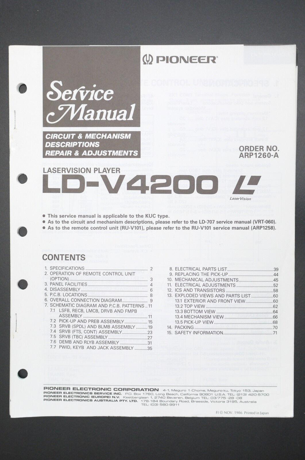 Pioneer Ld V4200 Laser Vision Original Service Manual Guide Wiring Diagram O36