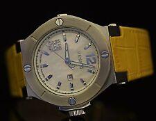Renato Women's Beauty Swiss Quartz Diamond Accented Yellow Leather Watch