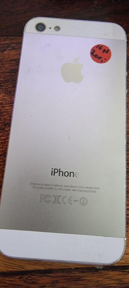 iPhone 5, 16 GB, hvid