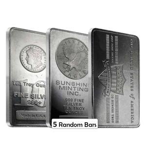 Lot of 5 - 10 oz Generic Silver Bar .999 Fine
