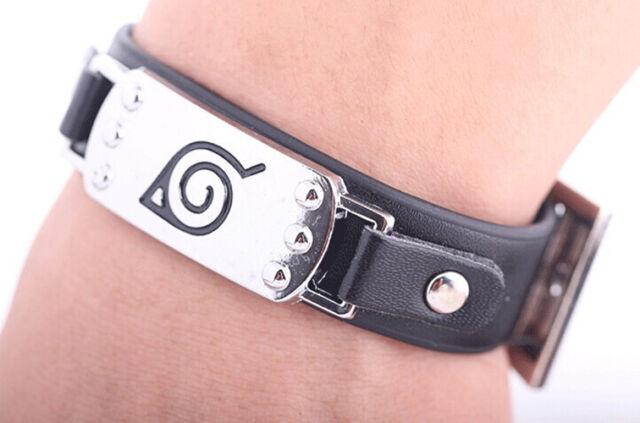 Anime Naruto Leaf Village Mark Badge Alloy Leather Unisex Wristband Bracelet New