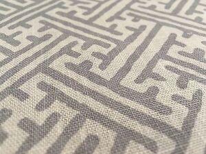 Elizabeth Hamilton Greek Key Upholstery Fabric Campbell Linen Fog
