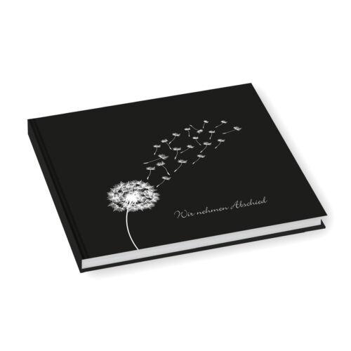 Kondolenzbuch /'Pusteblume Wir nehmen Abschied/' schwarz Trauer Trost