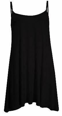 New Ladies Plus Size Neon & Plain Strappy Beach Ware Summer Swing Vest Dress8-22