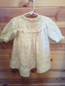 VINTAGE-ANTIQUE-HANDMADE-WHITE-PLAID-TODDLER-DRESS-RARE-FIND-EARLY-1900-039-S