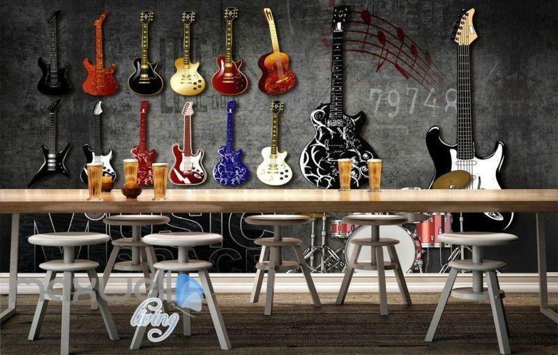 3D Graffiti Drum Guitars Instrument Music Wall Murals Wallpaper Art Decals Print