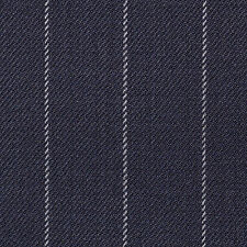 Holland and Sherry Dark Navy Blue Chalk Stripe All Wool Suiting - 3.50 Mtrs