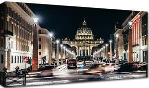 Quadri-Moderni-Stampa-su-Tela-cm-100x50-120x60-Roma-San-Pietro-di-Notte-Citta
