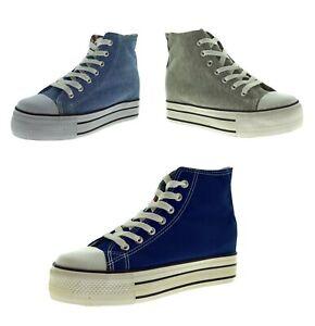 Scarpe-sportive-in-tela-sneakers-alte-da-ginnastica-con-lacci-con-rialzo-interno