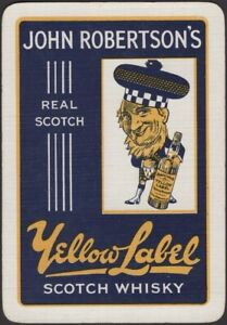 Playing Cards 1 Single Card Old Vintage Wide JOHN ROBERTSON'S Whisky Advertising