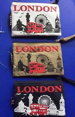 3 London Souvenir Canvas Material Coin Money Bag Purse Card Holder