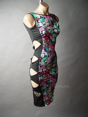 Sale Rose Jewel Print Hourglass Illusion Cutout Bombshell Club 37 mv Dress S M L