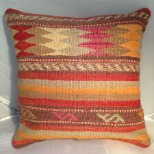 "Handmade Turkish Kilim Cushion Cover, High Quality Pillow, Boho 16x16"" (40x40cm)"