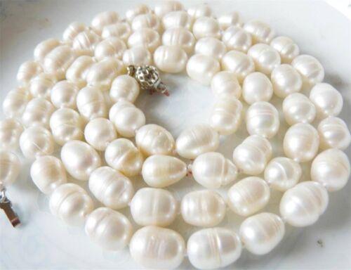 "New Gorgeous 10-11mm irregular white Akoya pearl necklace 34"""