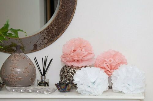 All Occasions 20 x White /& Pink Colour High Quality Tissue Paper Pom Poms