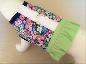 Navy-Flower-Dog-Harness-With-Ruffle-Skirt