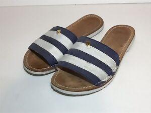 5b93eb36c812 Kate Spade Imperiale Sandals Womens Size 6 Slides Blue White Flats ...