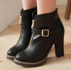 Onlymaker Women/'s Pointed Toe Ankle Booties Buckle Strap High Heel Zipper Office