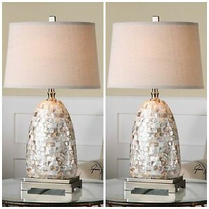 Two capiz shell tiles table lamp linen shade brushed nickel accents image is loading two capiz shell tiles table lamp linen shade aloadofball Images