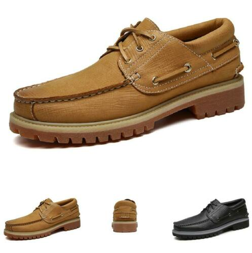 Details about  /Mens Low Top Work Leather Shoes Lace Up Flats Round Toe Non-slip Party Low Heel