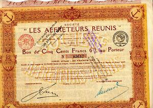 Bon Société Les Affrêteurs Réunis 1919 ( action titre )
