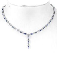 Sterling Silver 925 Genuine Tanzanite & White Topaz Necklace 18.5 Inches
