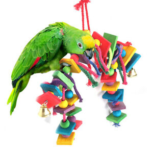 Large-Parrot-Pet-Bird-Toys-Perch-Budgie-Cockatiel-Chew-Hanging-Swing-Cage-Wooden