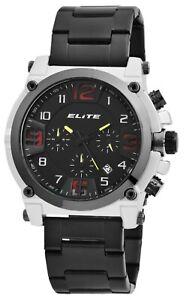 Elite-Herrenuhr-Schwarz-Silber-Chronograph-Datum-Analog-Quarz-X-2800065-003