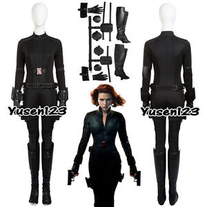 Details About Black Widow Natasha Romanoff Halloween Cosplay Costume Black Clothing One Piece