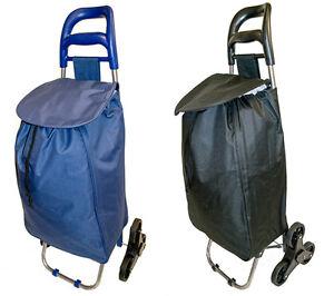 stair climber 6 wheel lightweight shopping trolley shopper bag on wheels black ebay. Black Bedroom Furniture Sets. Home Design Ideas