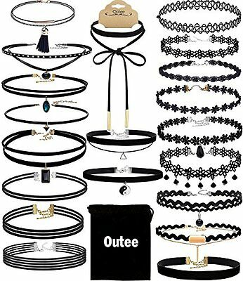 Chocker Sets  Outee 20 Pieces Black Velvet Choker Necklace Set Lace Choker for